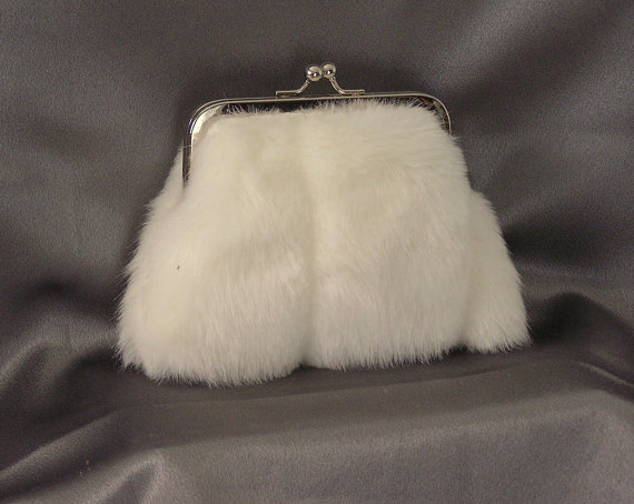 Свадьба - Bridal Clutch Mini Framed Purse Ivory Faux Mink  Fur Wedding Handmade