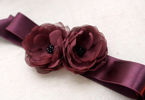Свадьба - Bridal Flower Sash, Wedding Dress Accessories, Bridal Gown Flower Sash, Wedding Sash Belt, Chiffon Peonies Sash, Burgundy, Cranberry, Garnet