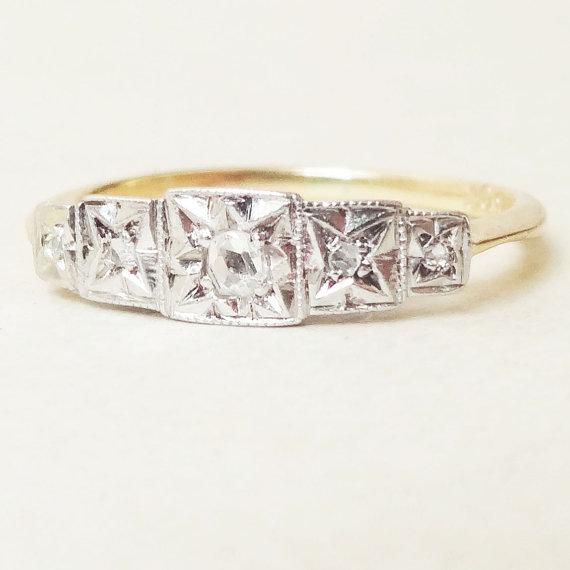 Mariage - Art Deco Geometric Rose Cut Diamond Eternity Ring, 18k Gold Diamond Engagement Ring Approx. Size US 3.5 / 3.75