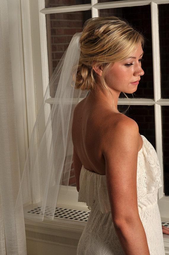 Свадьба - Wedding Veil - Elbow Length with Raw Cut Edge - Ivory, White, Diamond White, Champagne