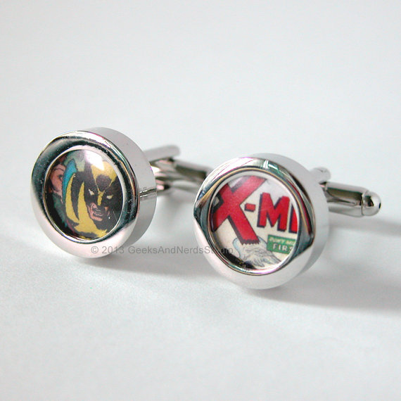 Mariage - Xmen Wolverine Marvel Comics Silver Cufflinks - Groomsmen Gift - Mens Cufflinks - Gift for HIm - Best Man Gift - Father's Day Gift