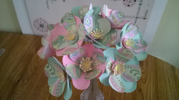Large Pink Mint Green Flower Bouquet Paper Wedding Flowers