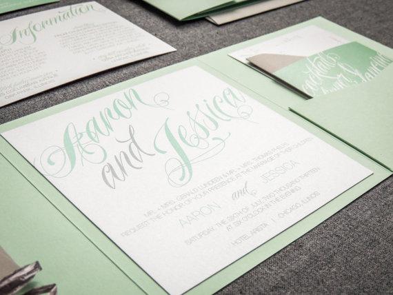 Mariage - Green Wedding Invitations, Modern Wedding Invitations, Calligraphy Party Invites, Sweeping Script - Pocketfold, No Layers, v2 - SAMPLE