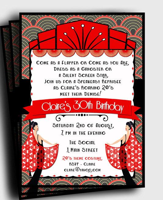 Art deco invitation printable black and red adult birthday art deco invitation printable black and red adult birthday anniversary any event stopboris Image collections