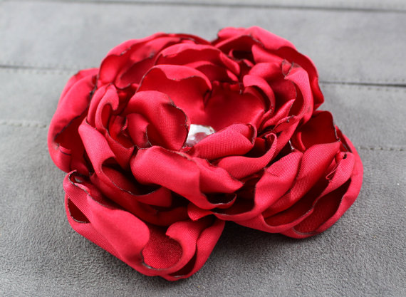 Mariage - Red Satin Dog Collar Flower - Wedding Party Accessory