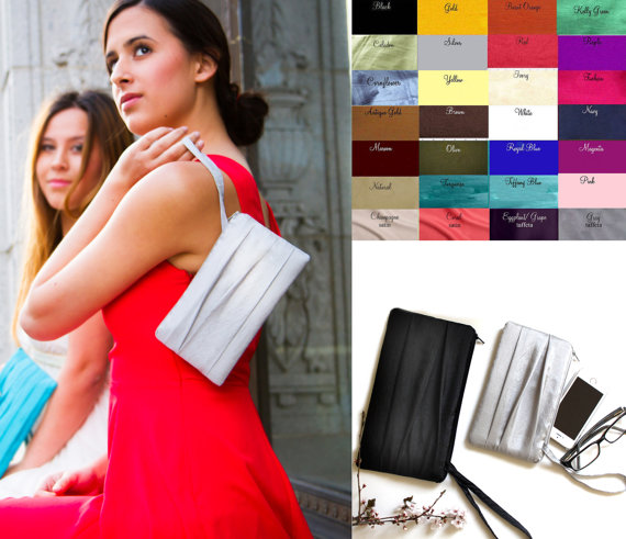 Свадьба - Pleated Wedding Clutch - Bridesmaids Gift Idea - Prom Wristlet - Silver, Black Coral, Champagne, Beige and More Colors