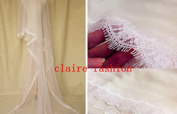 Mariage - Fashion eyelash lace soft tulle wedding veil wedding accessories in ivory / white church length 100cm or 270-300cm any length wedding veils