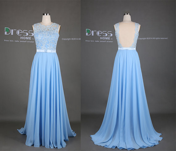 2015 Lace Long Prom Dress/Sweet 16 Light Blue Lace Appliques Bow ...