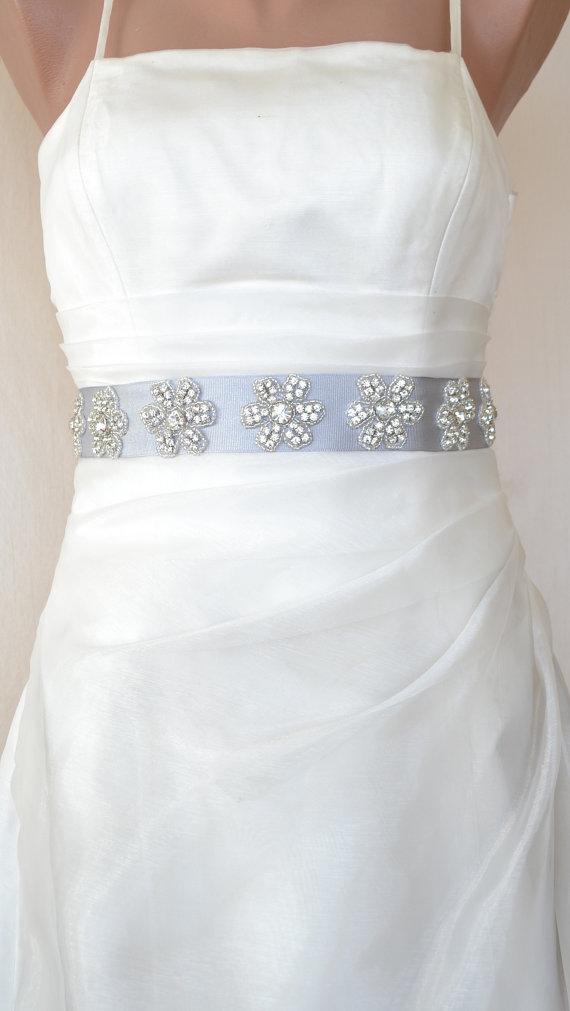 Seven Daisies Elegant Rhinestone Beaded Wedding Dress Sash Belt
