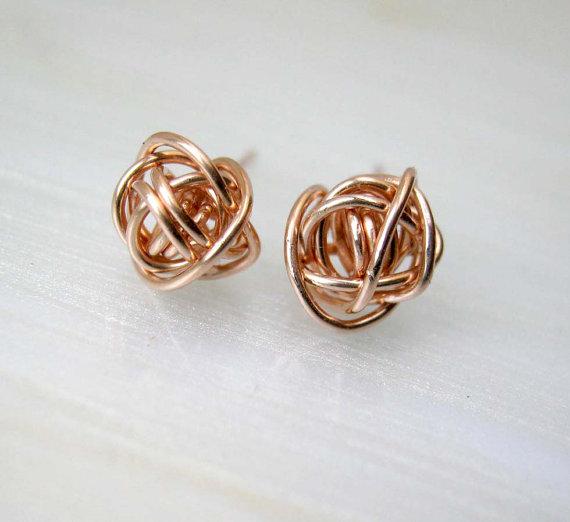 SALE Rose Gold Stud Earrings 14k Rose Gold Post Earrings