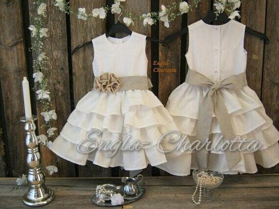 Linen flower girl dress rustic flower girl dress off for Country wedding flower girl dresses