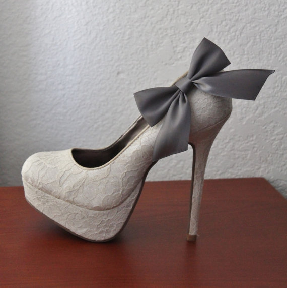 Wedding - Charcoal Gray Ribbon Bow Shoe Clips - 1 Pair
