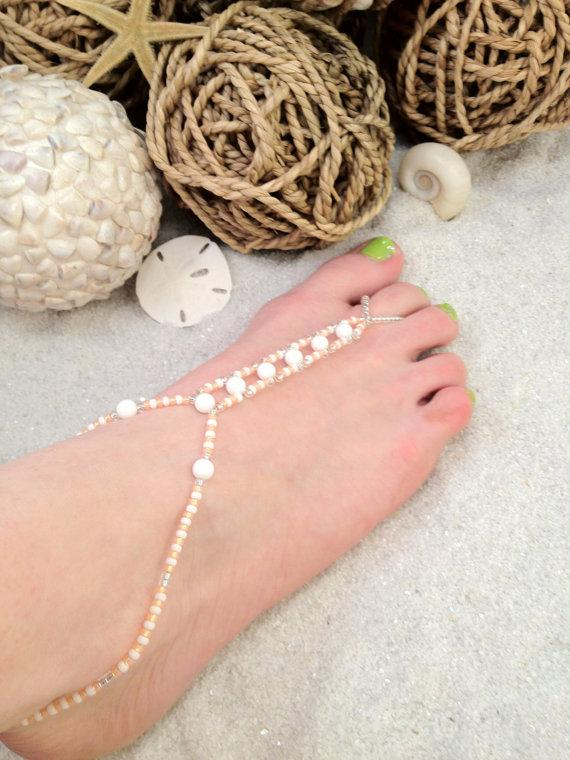 Wedding - Barefoot sandal - peach and white beaded foot jewelry, beach wedding shoes, anklet toe ring