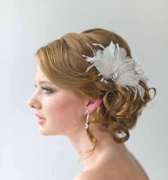 bridal fascinator, wedding hair accessory, feather head piece Wedding Hair Pieces With Feathers bridal fascinator, wedding hair accessory, feather head piece, wedding feather hairclip ellie wedding hair pieces with feathers