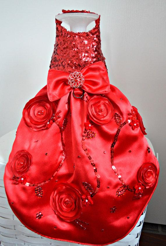 زفاف - Sequin Fancy Dog Harness Dog Dress