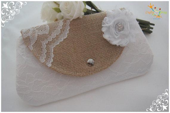 Mariage - Clutch -Burlap Clutch - Satin Clutch -  Bridesmaid Clutches - Pouch - Formal - Wedding - Boutique - chevron clutch