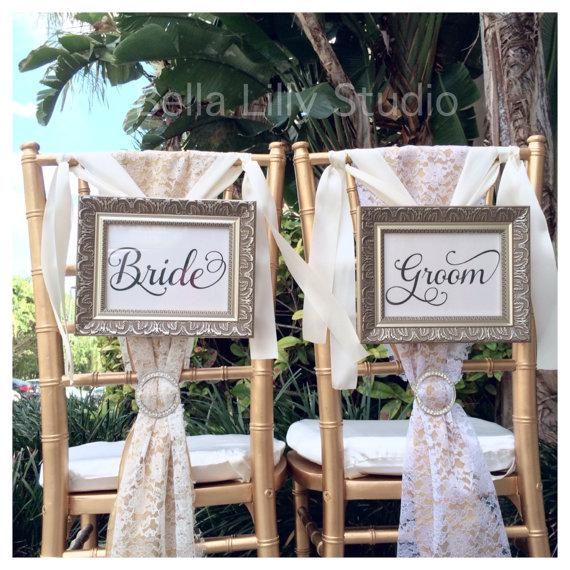 Bride And Groom Or Mr Mrs Wedding Signs Reception Decorations Chair