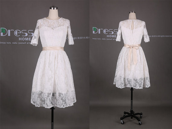 Mariage - White Half Sleeves Lace Sash Knee Length Bridesmaid Dress/Lace Prom Dress/Lace Party Dress/Short Prom Dress/White Lace Prom Dress DH329