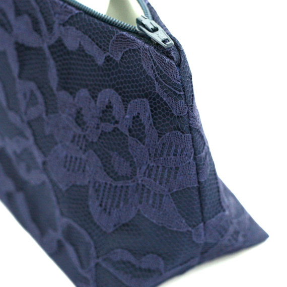 Mariage - Navy Lace Bridesmaid Gift Clutch: Wedding Accessory, Something Blue, Cosmetic / Makeup Bag