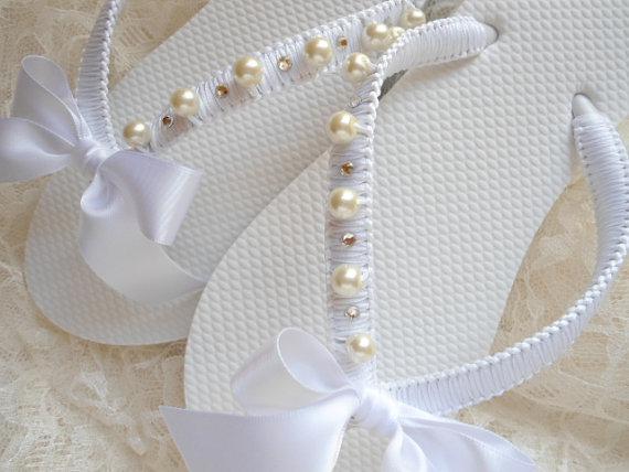 Beach Wedding Flip Flops Bridal Flop Sandals Shoes Honeymoon Gift