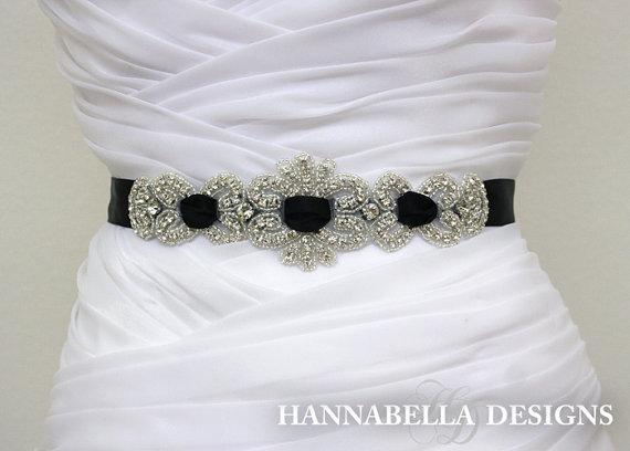 rhinestone black interlaced sash