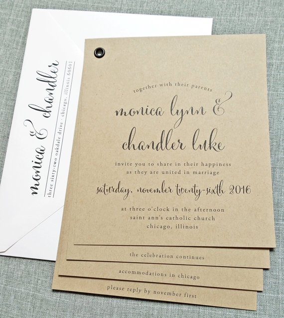 Monica Kraft Booklet Wedding Invitation Sample Black
