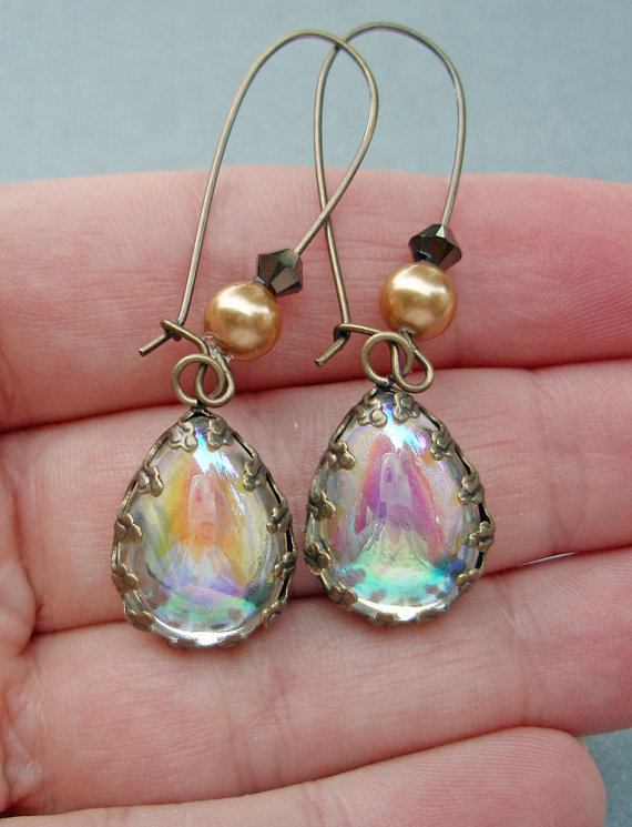 Mariage - Dangle Earrings Downton Abbey Jewelry Art Deco Aurora Borealis Vintage Bridal Jewelry Wedding  Pearl Drop Earrings BELLE Charmed