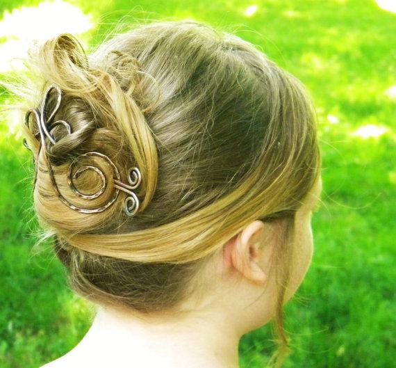 Mariage - Big Hair Barrette, Cross Hair Slide, Hair Stick, Sticks, Wedding Hairpiece, Hair Accessories, Large Hair Clip, Hair Fork, Hair Barrette