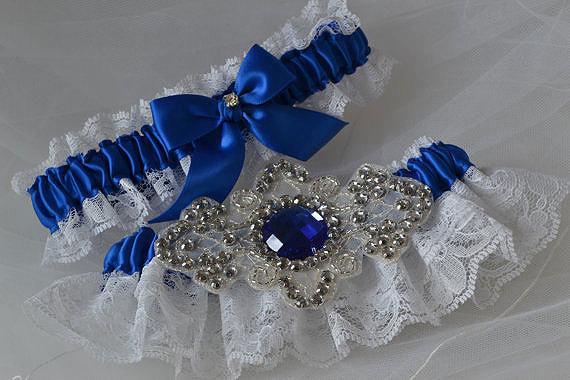 Wedding Garter Set Royal Blue And White Raschel Lace With Rhinestone ...