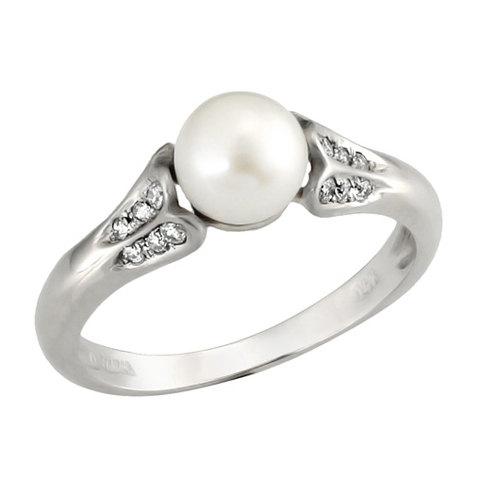 Mariage - Engagement Ring, 14k White Gold Antique Style Pearl and Diamond Engagement Ring, Pearl Ring, Unique Engagement Ring