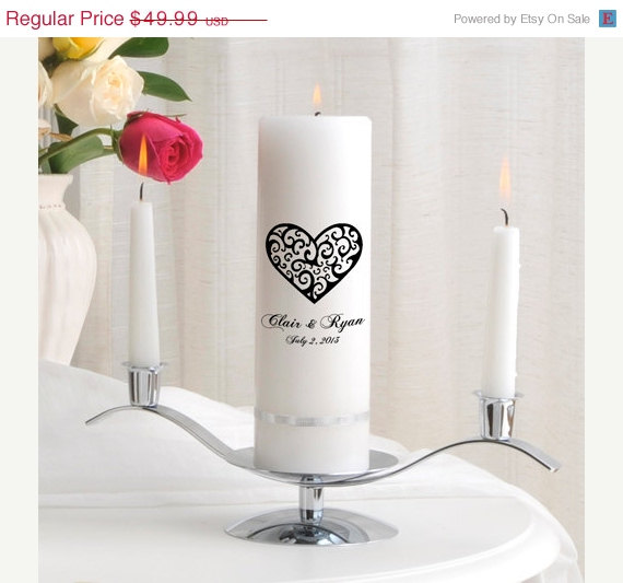 Mariage - On Sale Personalized Wedding Unity Candle Set - Vintage Hearts_330