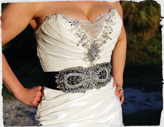 Bridal Beaded Sash Black Embellished Belt Infinity Crystallized Wedding Dress Embellishment