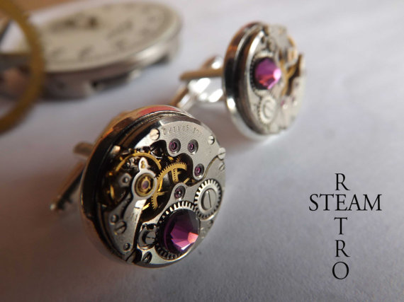 Mariage - 10% off with coupon code:SALE15  Steampunk Amethyst Cufflinks Steamretro -Mens Jewelry,Men cufflinks-Steampunk Cufflinks - Wedding cufflinks