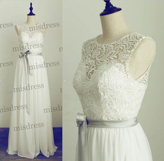 Wedding - Modest Lace Chiffon Wedding Dress Scoop Neckline Long Bridesmaid Dress Prom Dress with Silver Sash