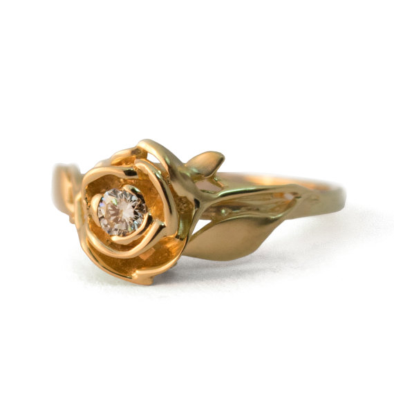 Mariage - Rose Engagement Ring No.3 - 18K Yellow Gold and Diamond engagement ring, engagement ring, leaf ring, flower ring,antique,art nouveau,vintage