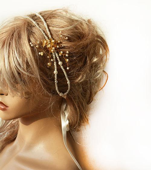 زفاف - Pearl Headband, Wedding Pearl Headband, Bridal, Pearl Headband,Gold Flower  Bridal Double, Bridal Hair Accessory, Wedding Accessory