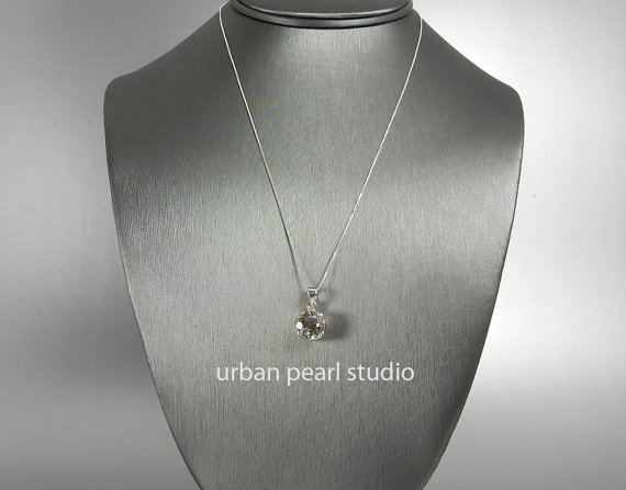 Wedding - Bridesmaid Gift, Crystal Bridesmaid Necklace, Round Diamond Cut Pendant Necklace, Quartz Crystal Pendant, Bridal Jewelry
