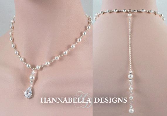 Mariage - CLAIRE - Wedding Backdrop Necklace, Bridal Back Drop Necklace, Crystal And Pearl Necklace, Bridal Jewelry, Cubic Zirconia, Swarovski Pearl