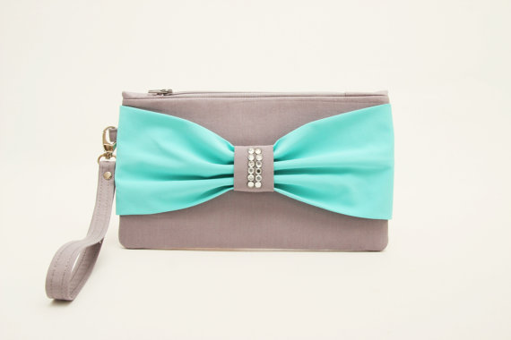 92ae575d99 Promotional sale - Grey Tiffany blue bow wristelt clutch,bridesmaid gift  ,wedding gift ,make up bag,zipper pouch