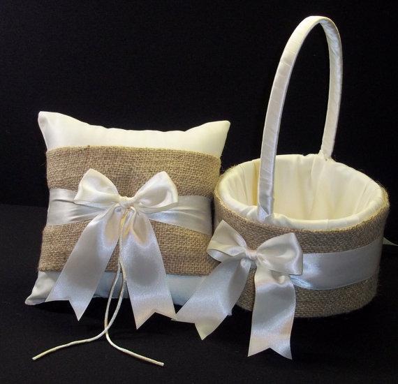 Mariage - Burlap Wedding Ring Bearer Pillow,  Flower Girl Basket White Or Ivory