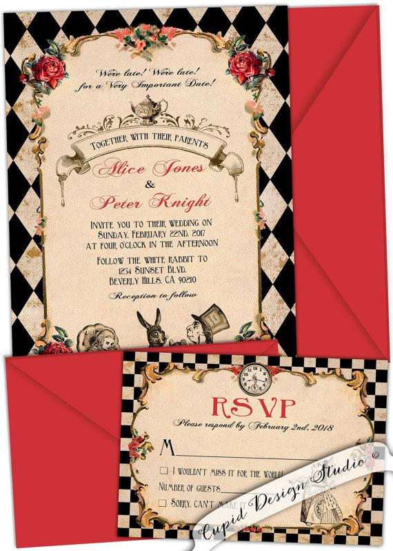 Alice In Wonderland Wedding Invitation. Vintage. Whimsical. Tea Party.  Elegant. Red And Black. Custom. Mad Hatter Wedding Invitation.