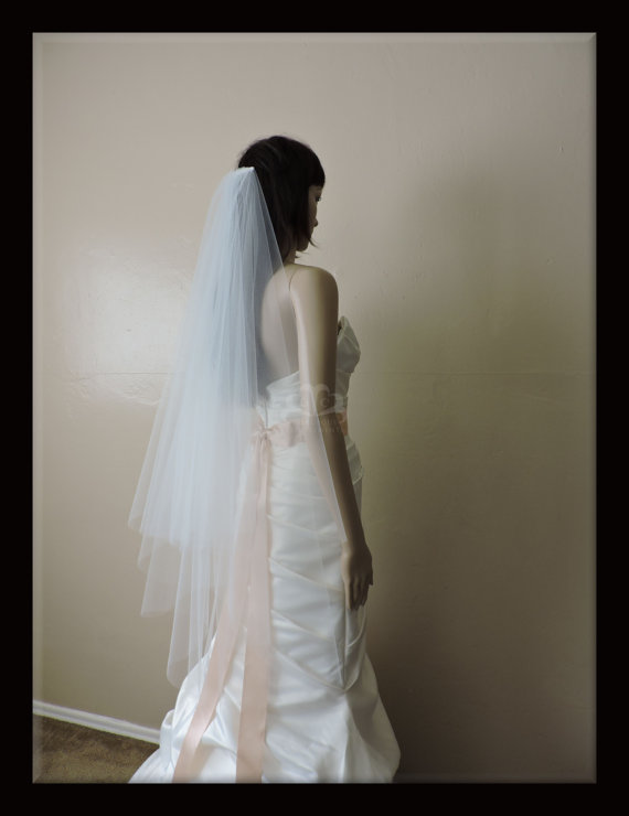 Wedding - Wedding Veil Double Tier Gathered Drop Cut Edge