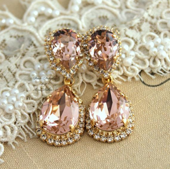 Blush pink bridal chandelier swarovski rhinestone earrings wedding blush pink bridal chandelier swarovski rhinestone earrings wedding jewelry peach drop earrings 18k gold plated champagne crystal earrings mozeypictures Choice Image