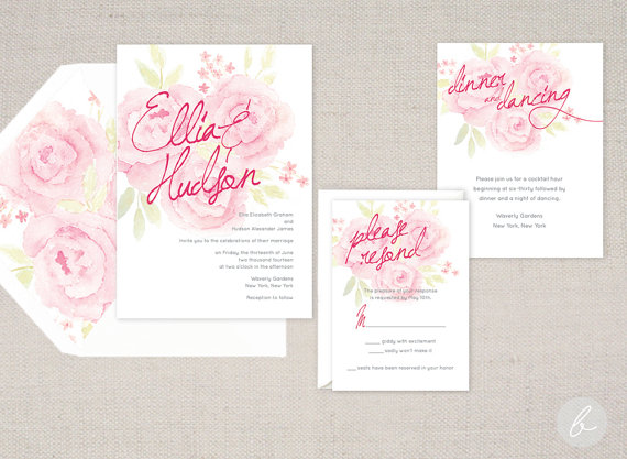 Hochzeit - English Garden Fuchsia Watercolor Wedding Invitation Collection - Set of 25