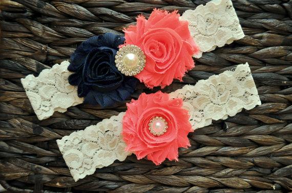 Mariage - Wedding Garter, Bridal Garter Set, Coral Wedding Garter, Coral Bridal Garter, Ivory Lace Garter, Navy Wedding Garter Belt, Navy Garter