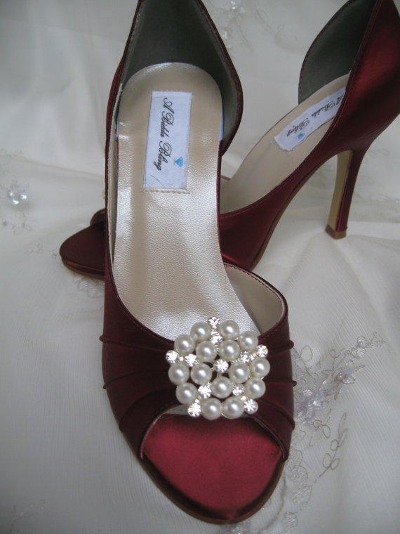 Mariage - Wedding Shoes Apple Red Shoes Pearl and Crystal Cluster -100 Additional Colors To Pick From