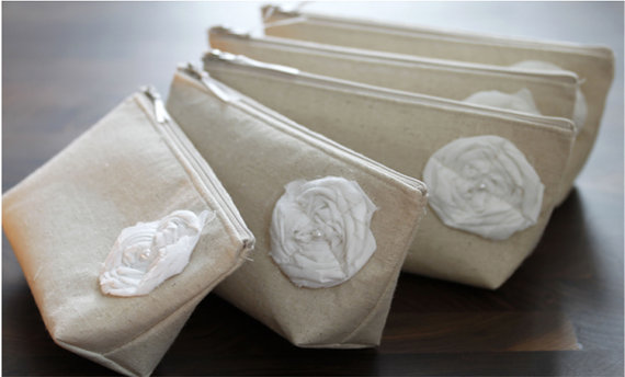 Mariage - Set of 5 Bridesmaid Gifts, Linen Clutches, Beige, Rustic Wedding Purses
