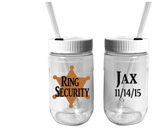 Hochzeit - Personalized Plastic Mason Jar Cups - Wedding Party - Ring Security - Ring Bearer - Groom