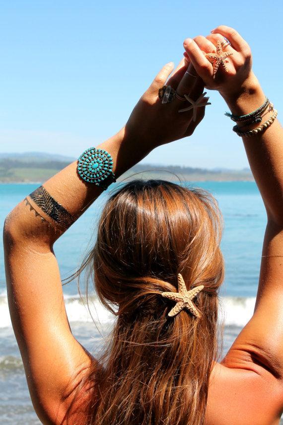 زفاف - Small  Baja Starfish Hair Barrette, Starfish Hairclip, Mermaid Accessories, Beach Weddings