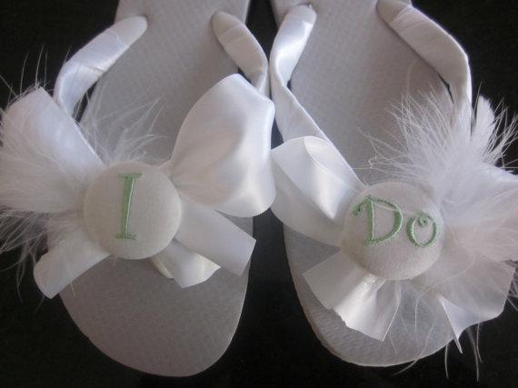 Hochzeit - Wedding Flip Flops/Wedges.Bridal Flip Flops. Bridal Bow Flip Flops. Beach Wedding.I DO shoes.Personalized Flip Flops for Bride.